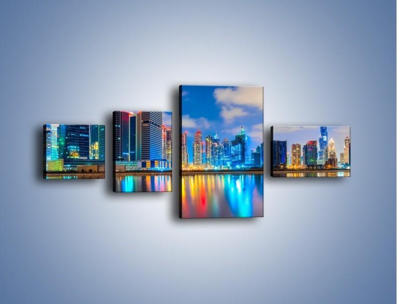 Obraz na płótnie – Kolory Dubaju odbite w wodzie – czteroczęściowy AM740W5
