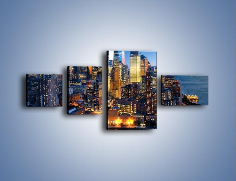 Obraz na płótnie – Zmierzch nad Manhattanem – czteroczęściowy AM749W5