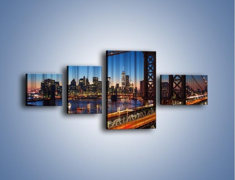 Obraz na płótnie – Nowojorskie mosty na tle Manhattanu – czteroczęściowy AM751W5