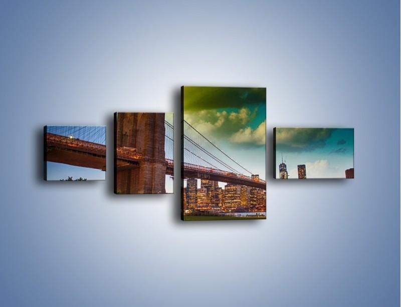 Obraz na płótnie – Most Brookliński pod pochmurnym niebem – czteroczęściowy AM752W5