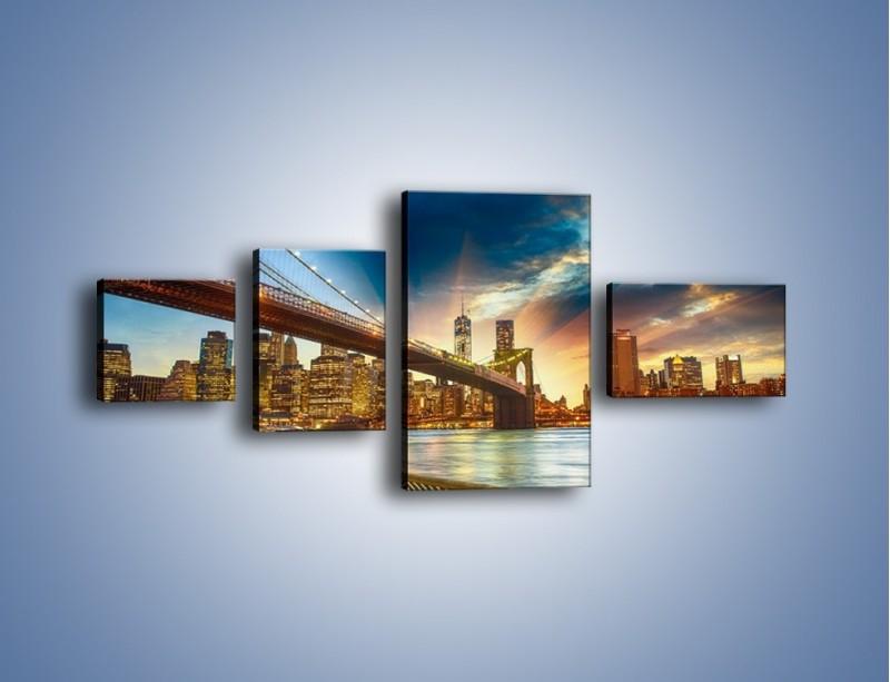 Obraz na płótnie – Most w Nowym Jorku o zmierzchu – czteroczęściowy AM754W5
