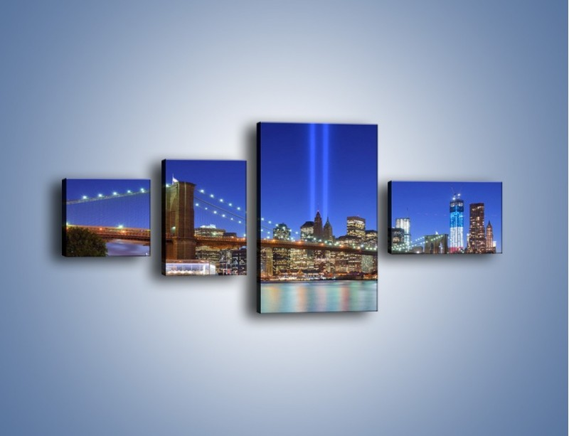 Obraz na płótnie – Świetlne kolumny w Nowym Jorku – czteroczęściowy AM757W5