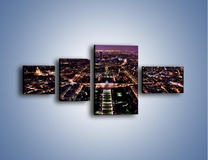 Obraz na płótnie – Panorama Paryża z Wieży Eiffla – czteroczęściowy AM764W5