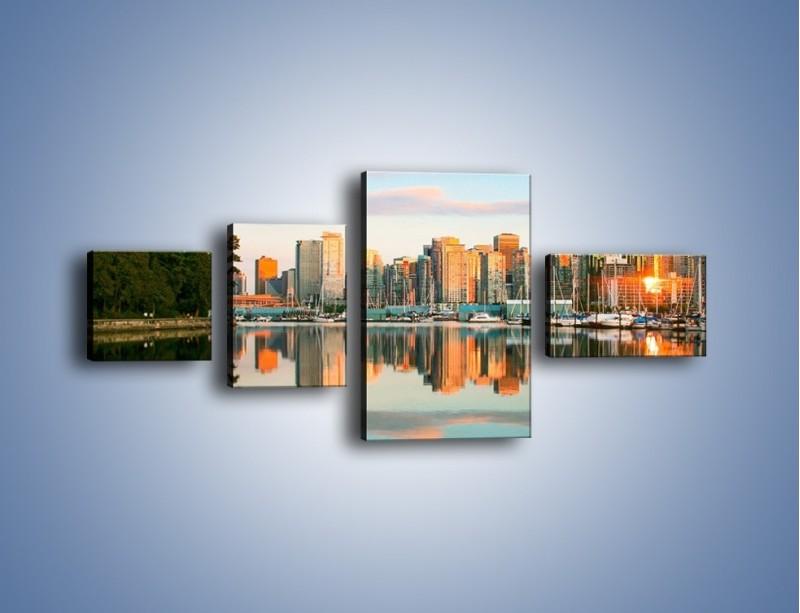 Obraz na płótnie – Widok na Vancouver – czteroczęściowy AM765W5