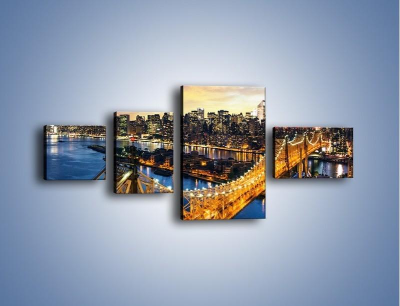 Obraz na płótnie – Queensboro Bridge w Nowym Yorku – czteroczęściowy AM768W5