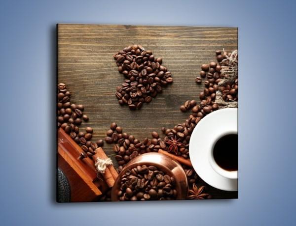 Obraz na płótnie – Serce biel i kawa – jednoczęściowy kwadratowy JN447