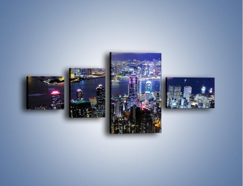 Obraz na płótnie – Nocna panorama Hong Kongu – czteroczęściowy AM772W5