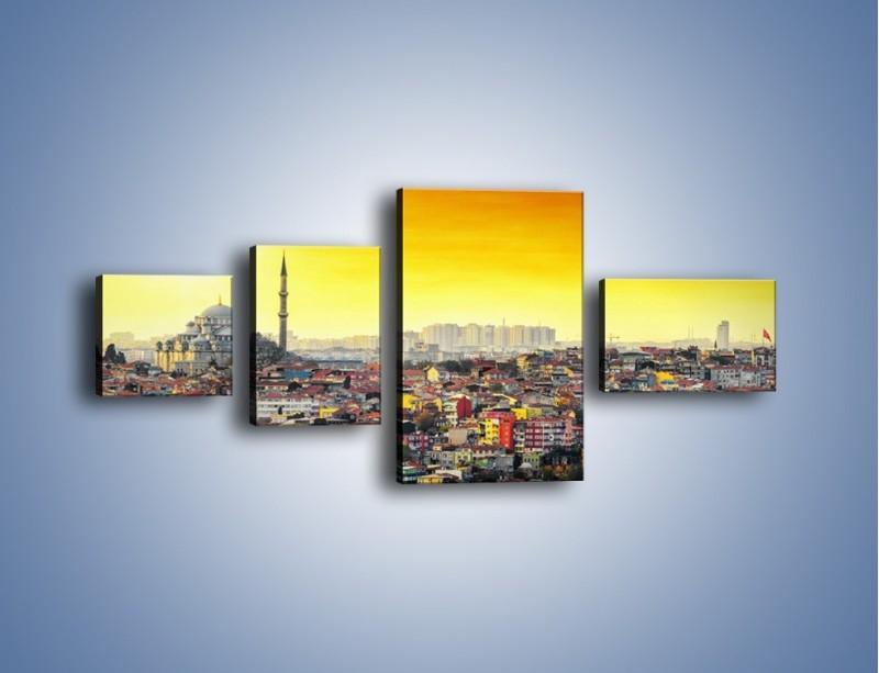 Obraz na płótnie – Zachód słońca nad Stambułem – czteroczęściowy AM788W5
