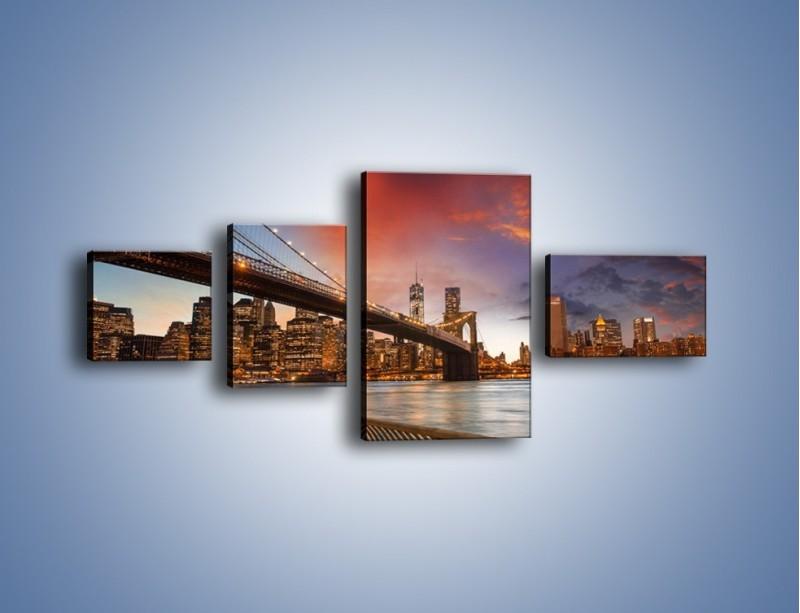 Obraz na płótnie – Zmierzch nad Mostem Brooklińskim – czteroczęściowy AM793W5
