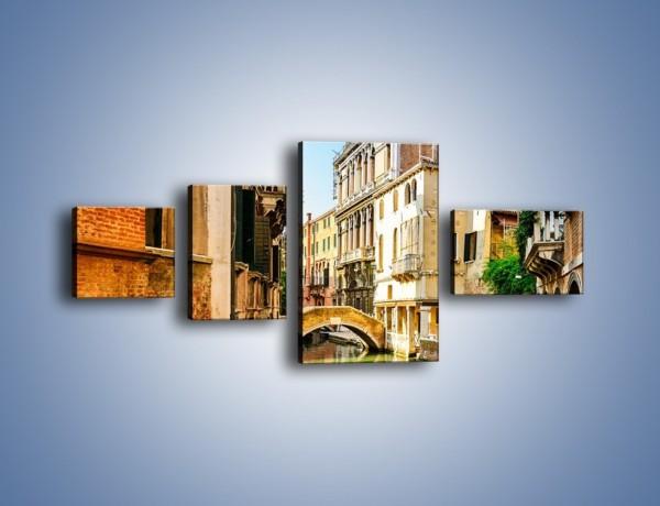 Obraz na płótnie – Romantyczny kanał w Wenecji – czteroczęściowy AM795W5
