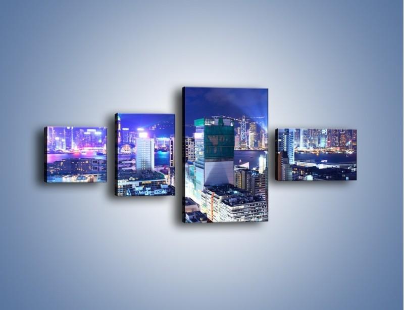 Obraz na płótnie – Pokaz laserów nad Hong Kongiem – czteroczęściowy AM796W5