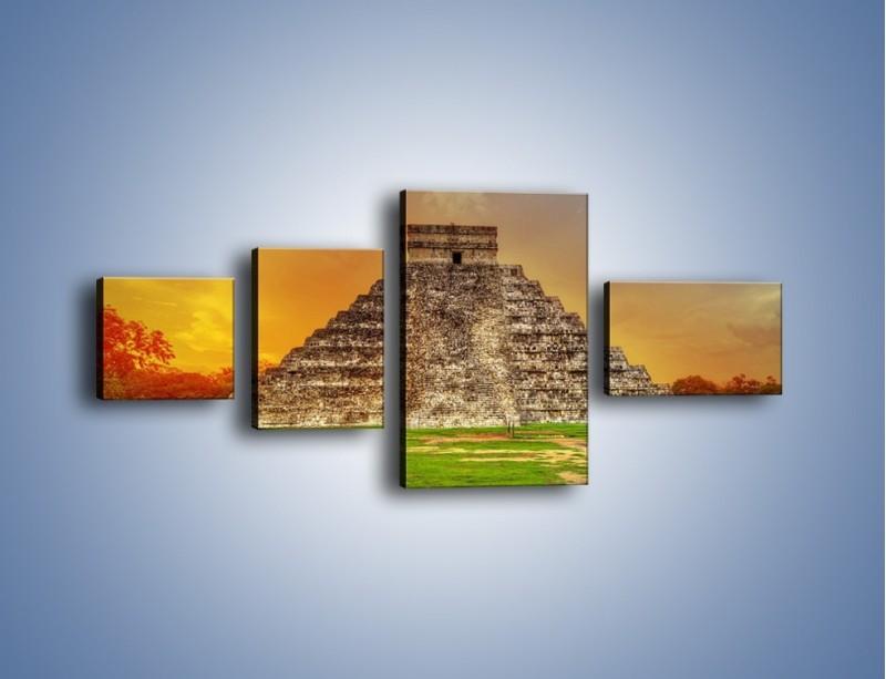 Obraz na płótnie – Piramida Kukulkana w Meksyku – czteroczęściowy AM814W5