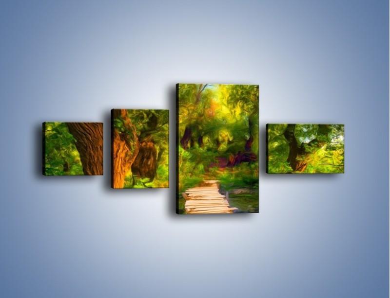 Obraz na płótnie – Drewniana kładka przez las – czteroczęściowy GR007W5