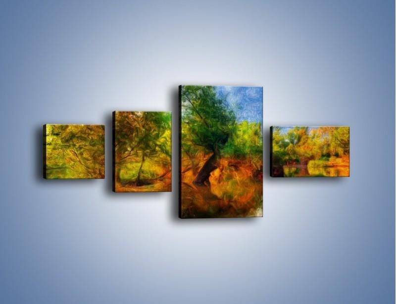 Obraz na płótnie – Drzewa w wodnym lustrze – czteroczęściowy GR010W5