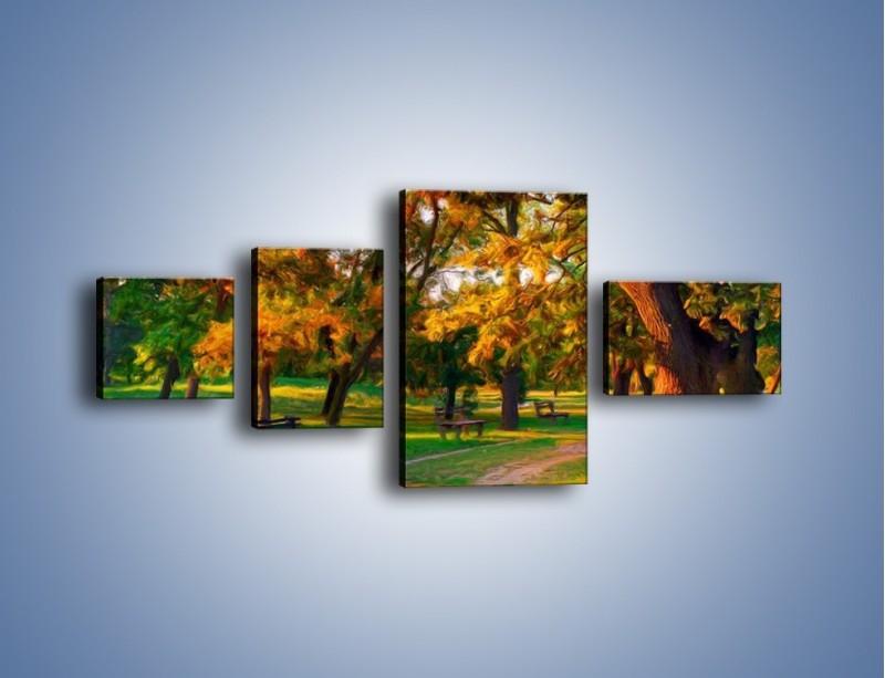 Obraz na płótnie – Ławeczka w parku – czteroczęściowy GR011W5