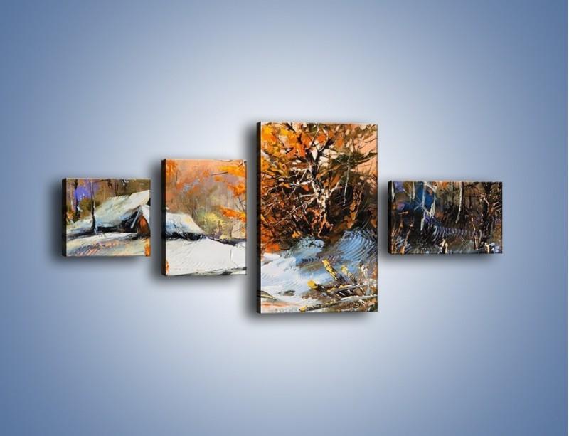 Obraz na płótnie – Zimowy klimat na wsi – czteroczęściowy GR027W5