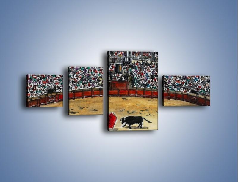 Obraz na płótnie – Walka torreadora z bykiem – czteroczęściowy GR040W5