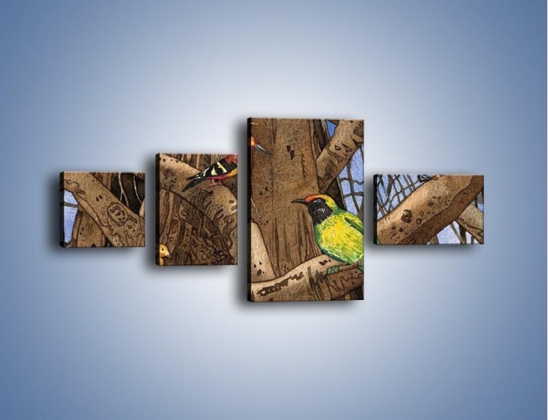 Obraz na płótnie – Mali przyjaciele na drzewie – czteroczęściowy GR050W5