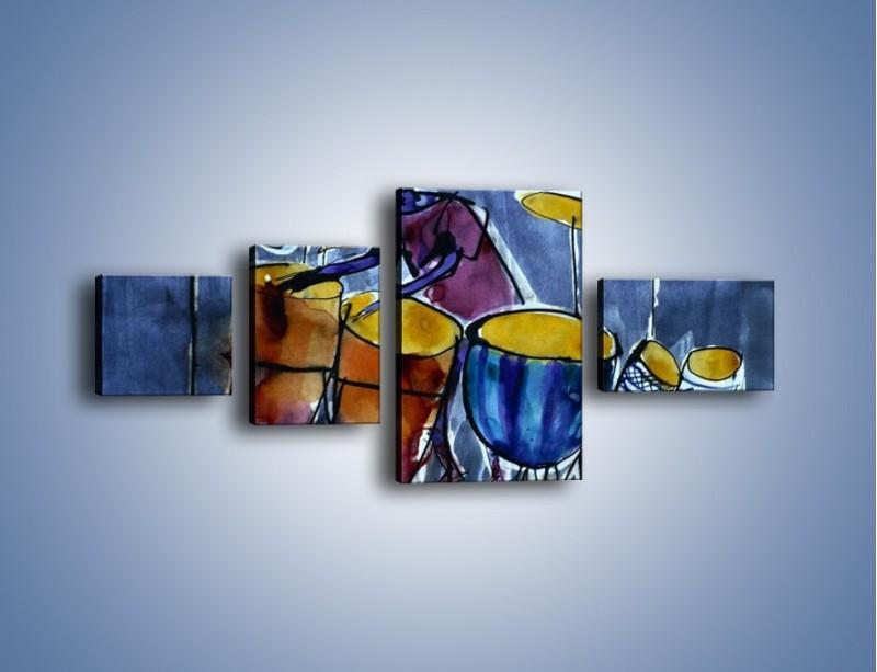 Obraz na płótnie – Gorące rytmy wybite na bębnach – czteroczęściowy GR070W5