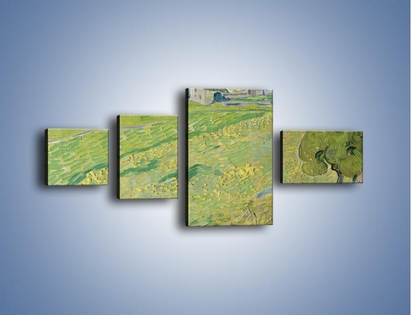 Obraz na płótnie – Łąka i małe domki – czteroczęściowy GR105W5