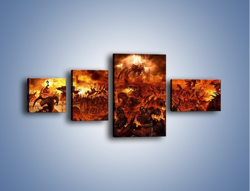 Obraz na płótnie – Bitwa z demonami – czteroczęściowy GR137W5