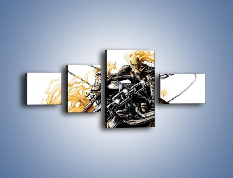 Obraz na płótnie – Mroczna postać na motorze – czteroczęściowy GR167W5