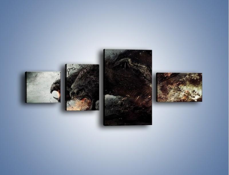 Obraz na płótnie – Groźny podmuch potworów – czteroczęściowy GR174W5