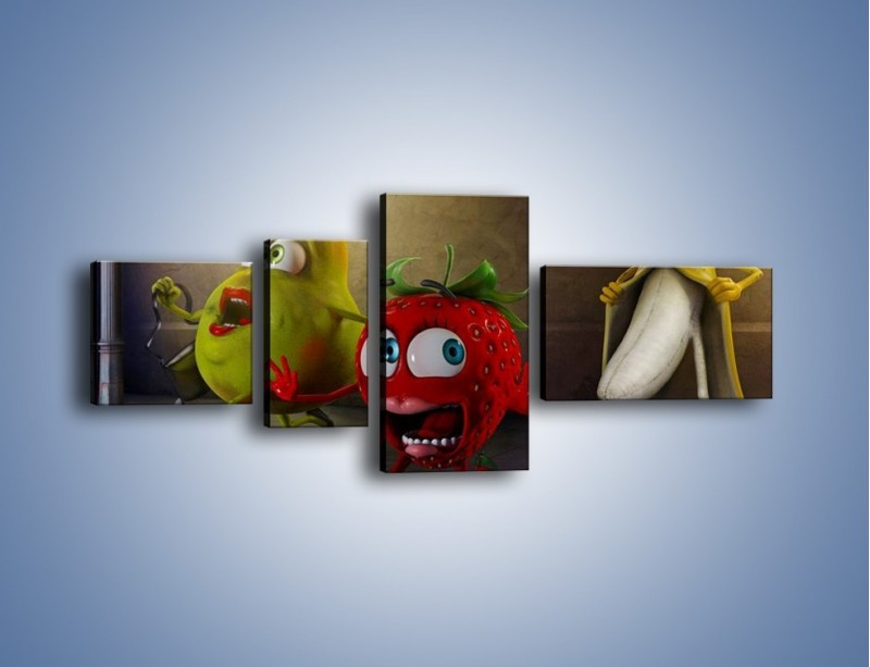 Obraz na płótnie – Strach w owocowych oczach – czteroczęściowy GR253W5