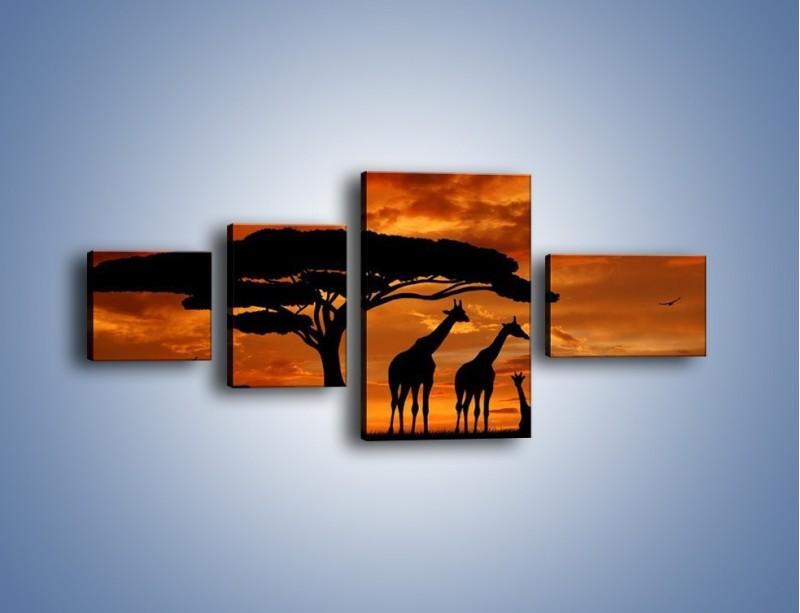 Obraz na płótnie – Żyrafy wieczorową porą – czteroczęściowy GR266W5