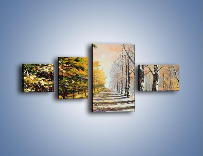 Obraz na płótnie – Trochę jesieni trochę zimy – czteroczęściowy GR292W5