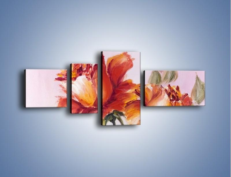 Obraz na płótnie – Kwiaty na płótnie malowane – czteroczęściowy GR322W5