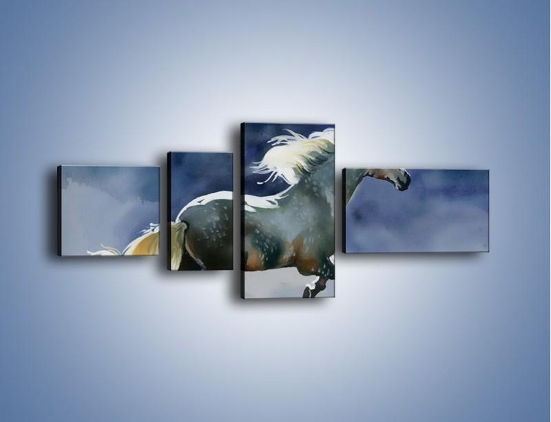 Obraz na płótnie – Bieg z koniem przez noc – czteroczęściowy GR339W5