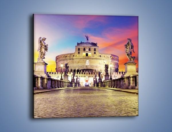 Obraz na płótnie – Zamek św. Anioła na tle kolorowego nieba – jednoczęściowy kwadratowy AM156