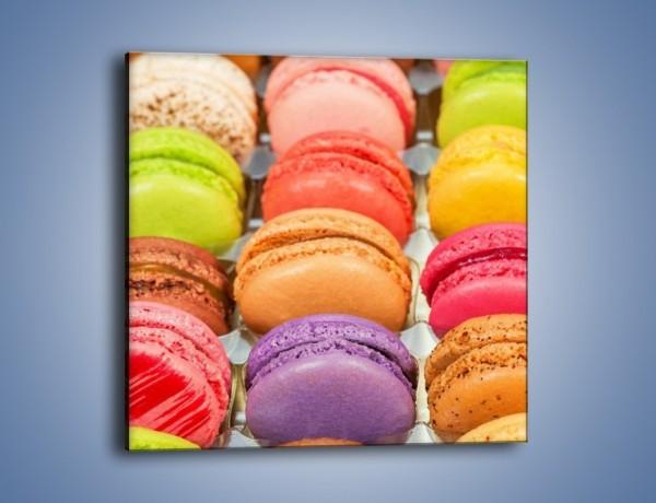 Obraz na płótnie – Słodkie babeczki w kolorach tęczy – jednoczęściowy kwadratowy JN458