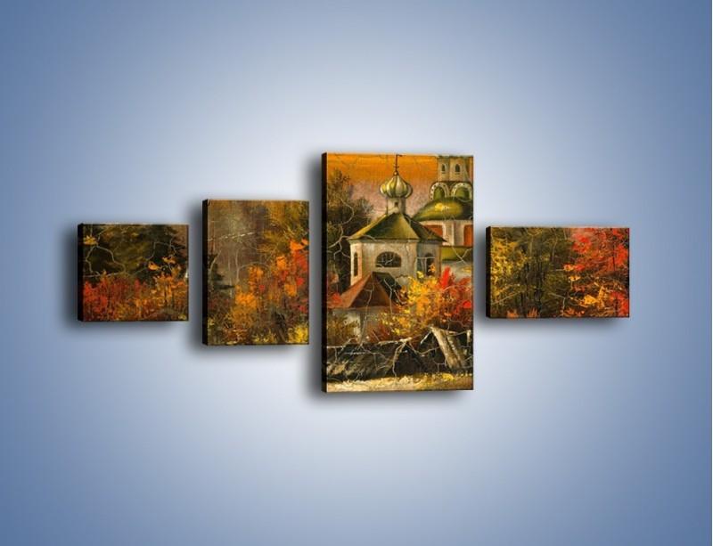 Obraz na płótnie – Kaplica późną jesienią – czteroczęściowy GR369W5