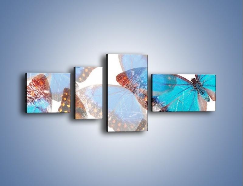 Obraz na płótnie – Motyl w niebieskim kolorze – czteroczęściowy GR403W5
