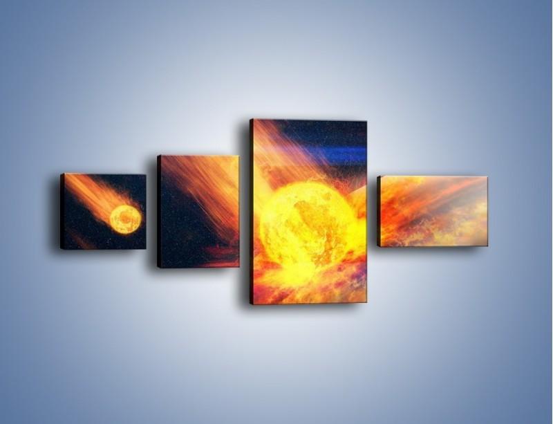Obraz na płótnie – Atak kula ognia – czteroczęściowy GR532W5