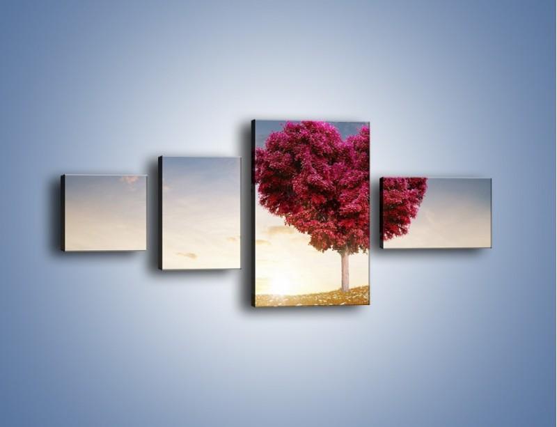 Obraz na płótnie – Drzewo pełne miłości – czteroczęściowy GR537W5