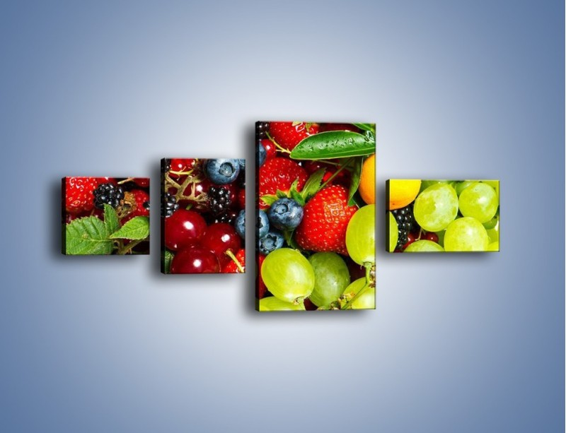 Obraz na płótnie – Wymieszane kolorowe owoce – czteroczęściowy JN037W5