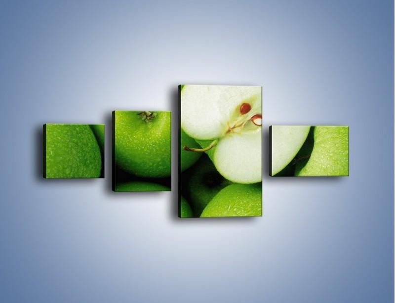 Obraz na płótnie – Zielone jabłuszka – czteroczęściowy JN039W5