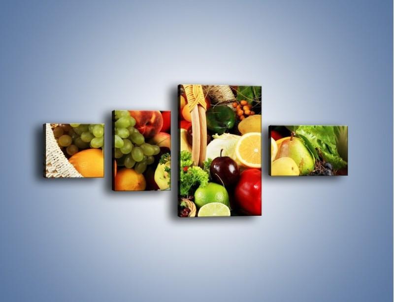 Obraz na płótnie – Kosz pełen owocowo-warzywnego zdrowia – czteroczęściowy JN059W5