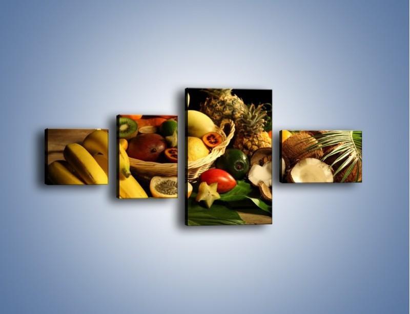 Obraz na płótnie – Kosz egzotycznych owoców – czteroczęściowy JN074W5