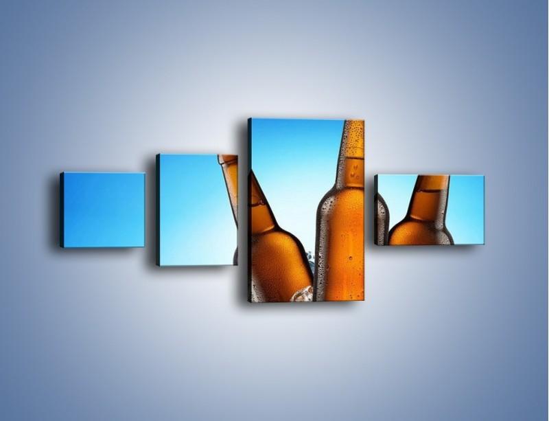 Obraz na płótnie – Szron na butelkach piwa – czteroczęściowy JN075W5