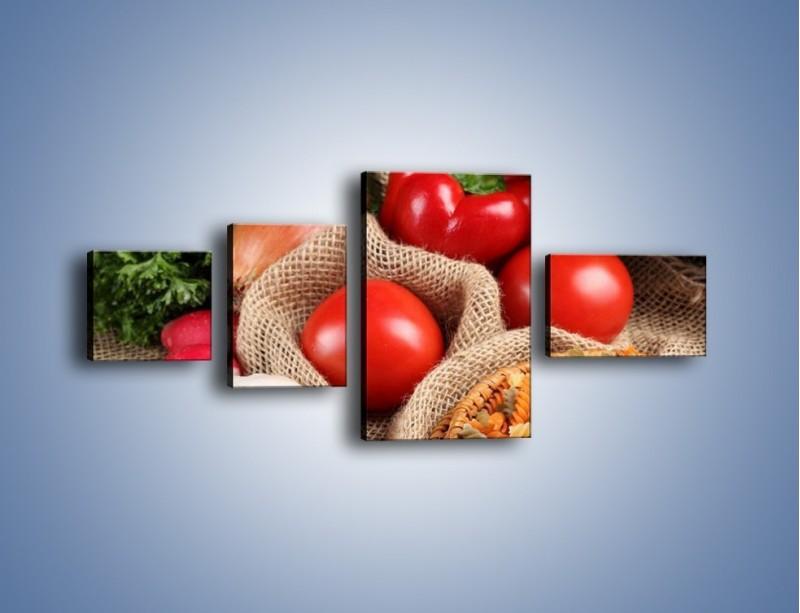 Obraz na płótnie – Makaron z warzywami – czteroczęściowy JN076W5