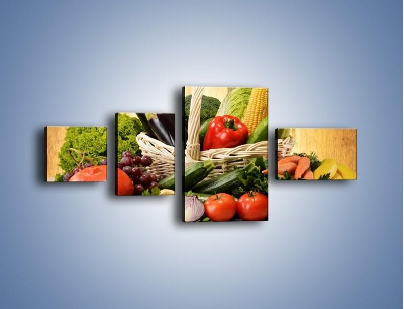 Obraz na płótnie – Kosz pełen warzywnych witamin – czteroczęściowy JN081W5