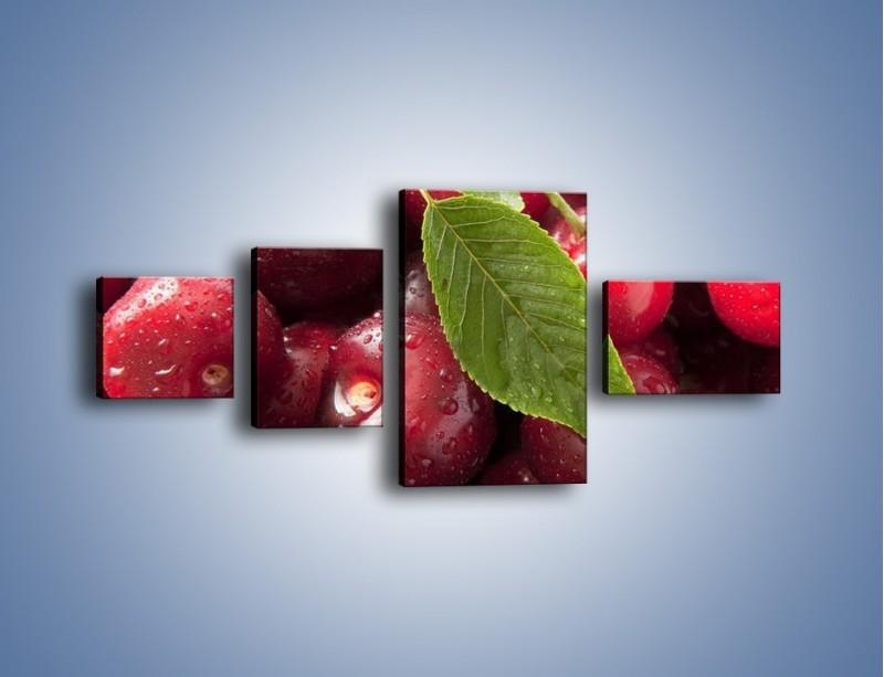 Obraz na płótnie – Świeżo umyte zebrane czereśnie – czteroczęściowy JN087W5