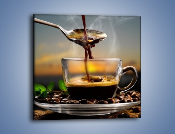 Obraz na płótnie – Łyżeczka gorącej kawy – jednoczęściowy kwadratowy JN467