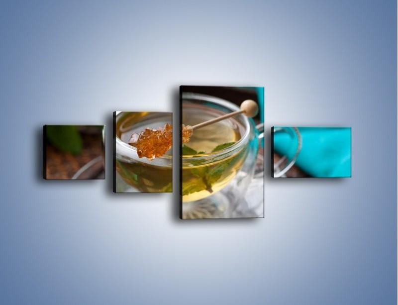 Obraz na płótnie – Oczyszczająca zielona herbata – czteroczęściowy JN104W5