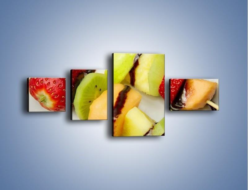 Obraz na płótnie – Czekoladowo-owocowe szaszłyki – czteroczęściowy JN112W5