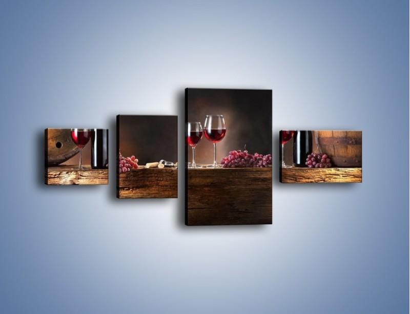Obraz na płótnie – Beczuszki czerwonego wina – czteroczęściowy JN142W5